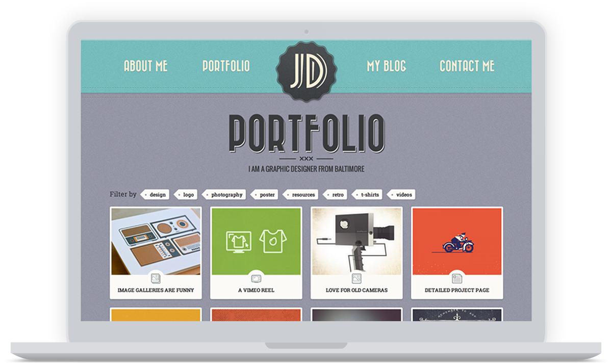 Retro Portfolio - Mockup Screenshot